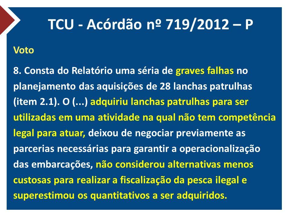 TCU - Acórdão nº 719/2012 – P Voto 8. Consta do Relatório uma séria de graves falhas no planejamento das aquisições de 28 lanchas patrulhas (item 2.1)