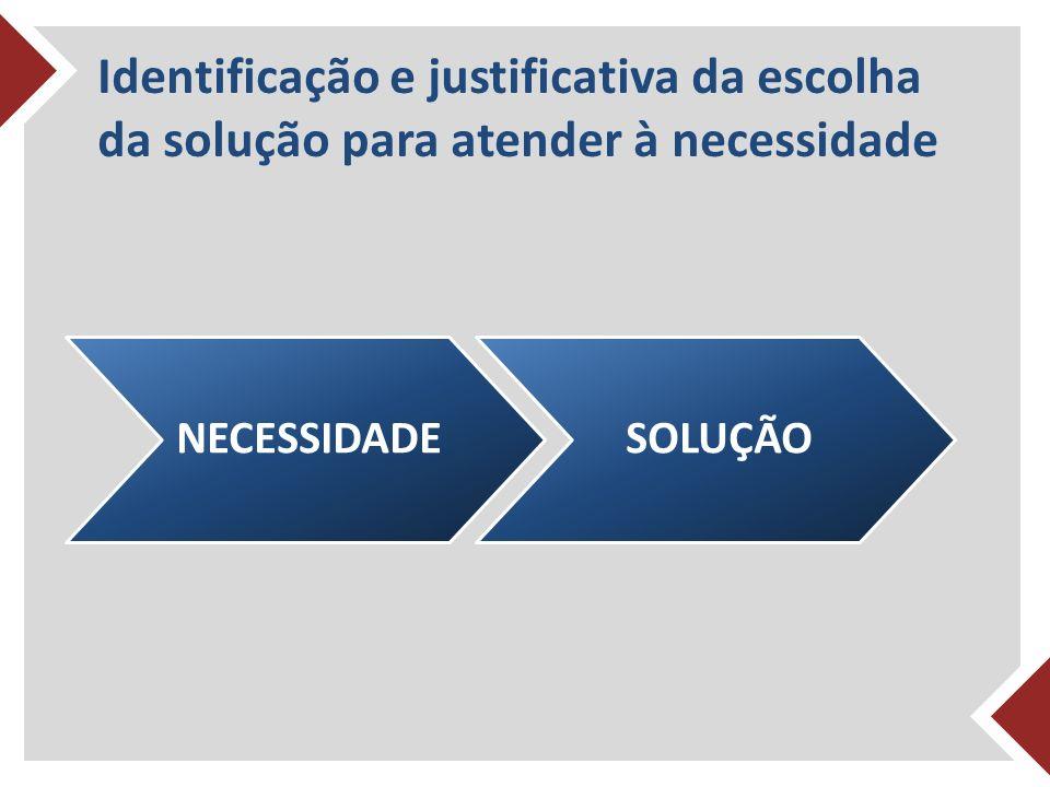Identificação e justificativa da escolha da solução para atender à necessidade NECESSIDADESOLUÇÃO