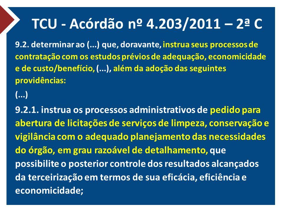 TCU - Acórdão nº 4.203/2011 – 2ª C 9.2. determinar ao (...) que, doravante, instrua seus processos de contratação com os estudos prévios de adequação,