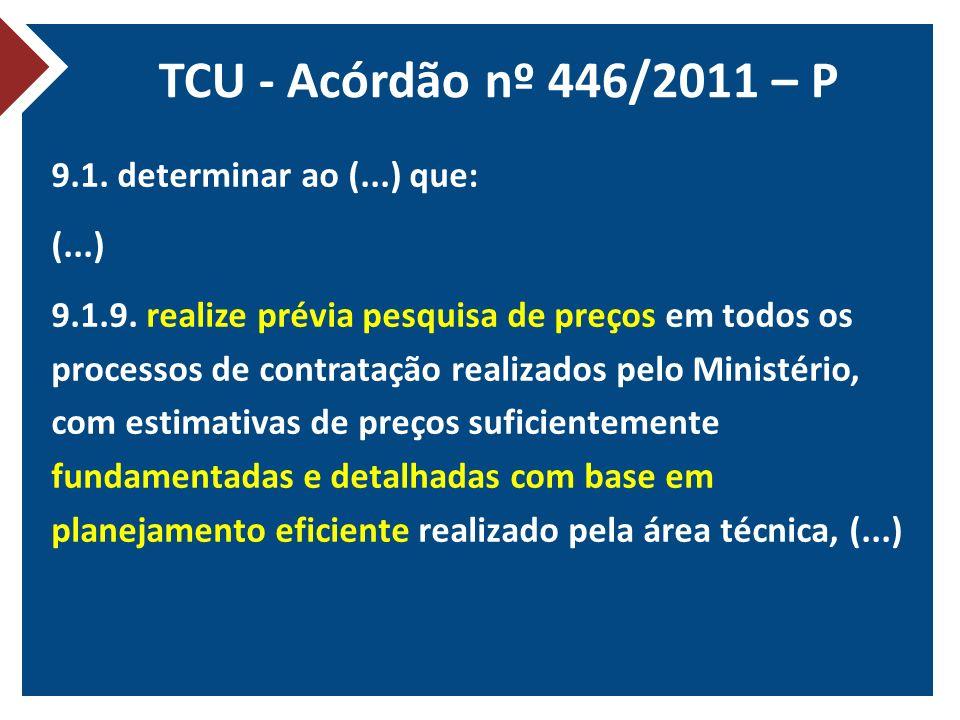 TCU - Acórdão nº 446/2011 – P 9.1. determinar ao (...) que: (...) 9.1.9. realize prévia pesquisa de preços em todos os processos de contratação realiz