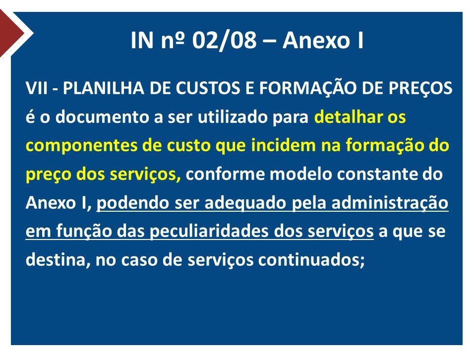 IN nº 02/08 – Anexo I VII - PLANILHA DE CUSTOS E FORMAÇÃO DE PREÇOS é o documento a ser utilizado para detalhar os componentes de custo que incidem na