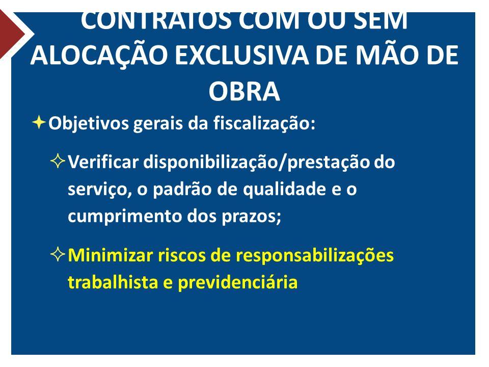 CONTRATOS COM OU SEM ALOCAÇÃO EXCLUSIVA DE MÃO DE OBRA Objetivos gerais da fiscalização: Verificar disponibilização/prestação do serviço, o padrão de