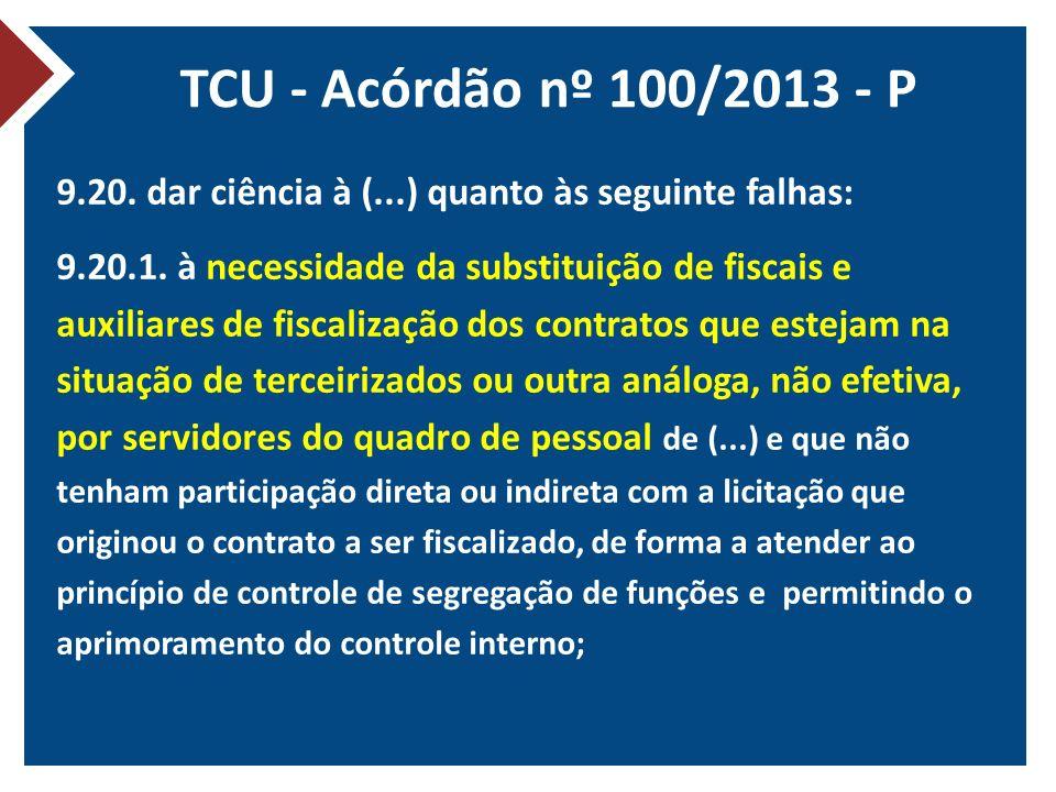 TCU - Acórdão nº 100/2013 - P 9.20. dar ciência à (...) quanto às seguinte falhas: 9.20.1. à necessidade da substituição de fiscais e auxiliares de fi