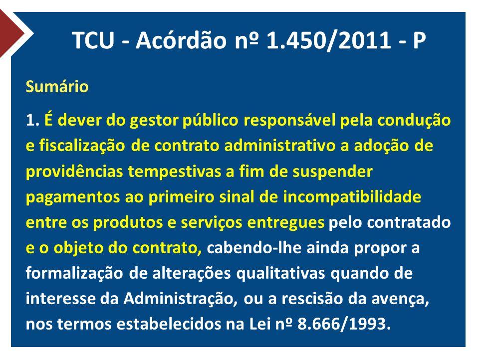 TCU - Acórdão nº 1.450/2011 - P Sumário 1. É dever do gestor público responsável pela condução e fiscalização de contrato administrativo a adoção de p