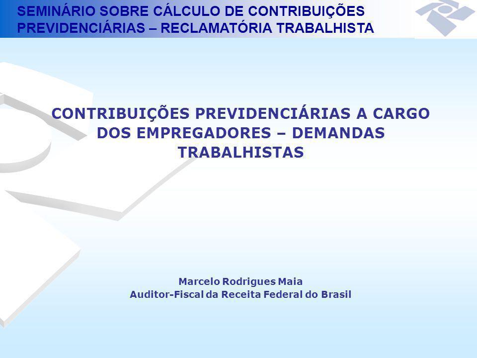 SEMINÁRIO SOBRE CÁLCULO DE CONTRIBUIÇÕES PREVIDENCIÁRIAS – RECLAMATÓRIA TRABALHISTA Empregados : 20% Trabalhadores Avulsos : 15% no período de 05/1996 a 02/2000 (Lei Complementar nº 84, de 18/01/1996) 20% a partir de 01/03/2000 (Lei nº 9.876, de 26/11/99) Contribuições das Empresas