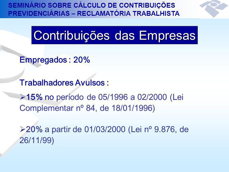 SEMINÁRIO SOBRE CÁLCULO DE CONTRIBUIÇÕES PREVIDENCIÁRIAS – RECLAMATÓRIA TRABALHISTA Empregados : 20% Trabalhadores Avulsos : 15% no período de 05/1996