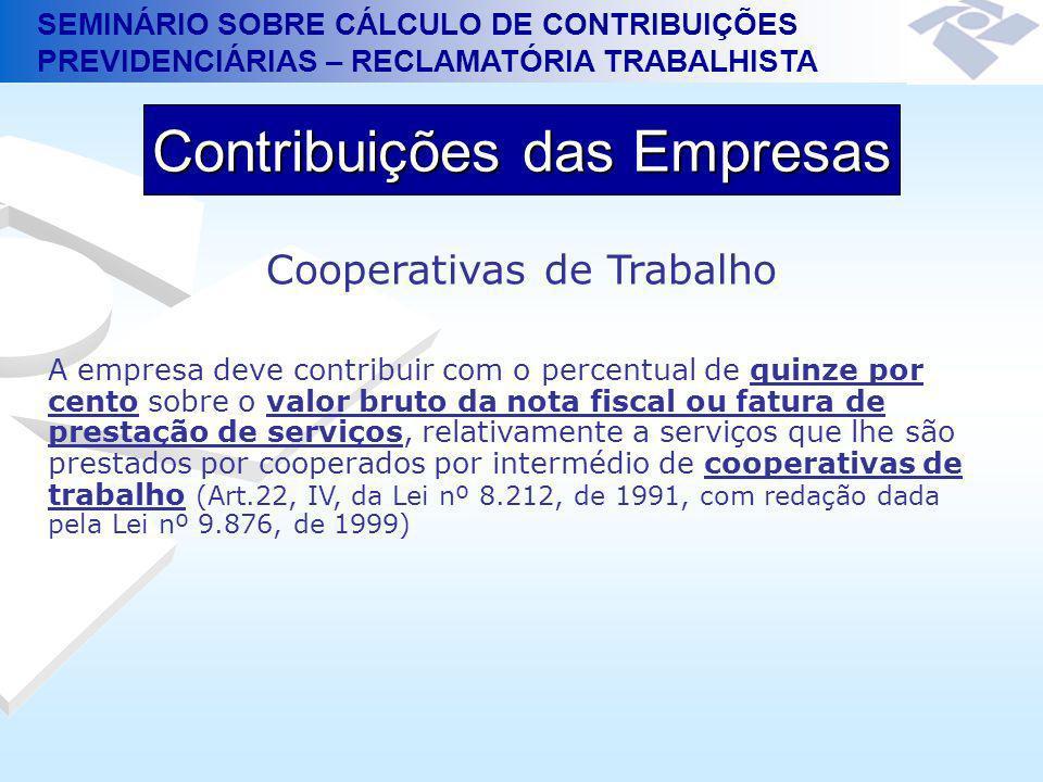 SEMINÁRIO SOBRE CÁLCULO DE CONTRIBUIÇÕES PREVIDENCIÁRIAS – RECLAMATÓRIA TRABALHISTA Contribuições das Empresas Cooperativas de Trabalho A empresa deve