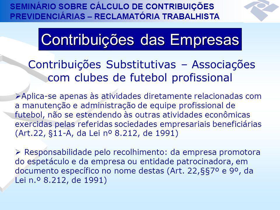 SEMINÁRIO SOBRE CÁLCULO DE CONTRIBUIÇÕES PREVIDENCIÁRIAS – RECLAMATÓRIA TRABALHISTA Contribuições das Empresas Contribuições Substitutivas – Associaçõ