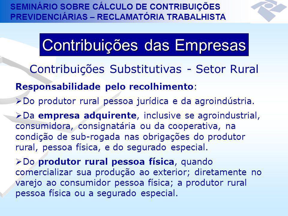 SEMINÁRIO SOBRE CÁLCULO DE CONTRIBUIÇÕES PREVIDENCIÁRIAS – RECLAMATÓRIA TRABALHISTA Contribuições das Empresas Contribuições Substitutivas - Setor Rur