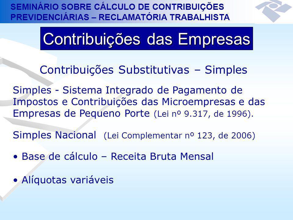 SEMINÁRIO SOBRE CÁLCULO DE CONTRIBUIÇÕES PREVIDENCIÁRIAS – RECLAMATÓRIA TRABALHISTA Contribuições das Empresas Contribuições Substitutivas – Simples S
