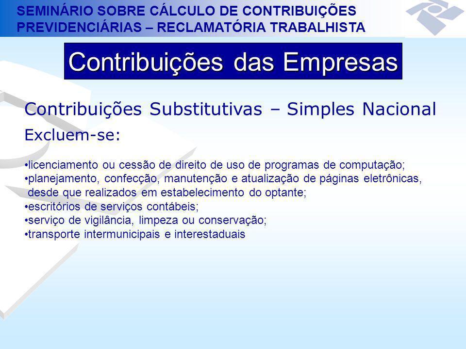 SEMINÁRIO SOBRE CÁLCULO DE CONTRIBUIÇÕES PREVIDENCIÁRIAS – RECLAMATÓRIA TRABALHISTA Contribuições das Empresas Contribuições Substitutivas – Simples N