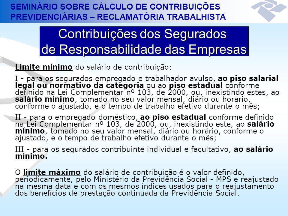 SEMINÁRIO SOBRE CÁLCULO DE CONTRIBUIÇÕES PREVIDENCIÁRIAS – RECLAMATÓRIA TRABALHISTA Contribuições dos Segurados de Responsabilidade das Empresas Limit
