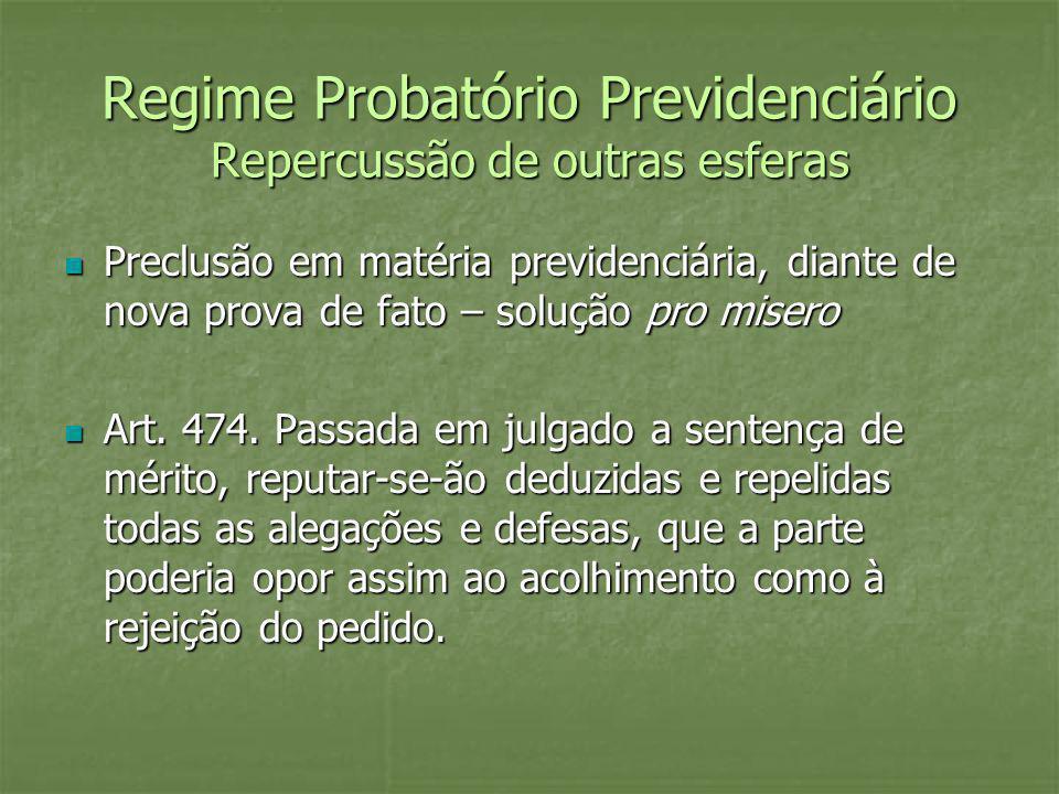 Regime Probatório Previdenciário Repercussão de outras esferas Preclusão em matéria previdenciária, diante de nova prova de fato – solução pro misero