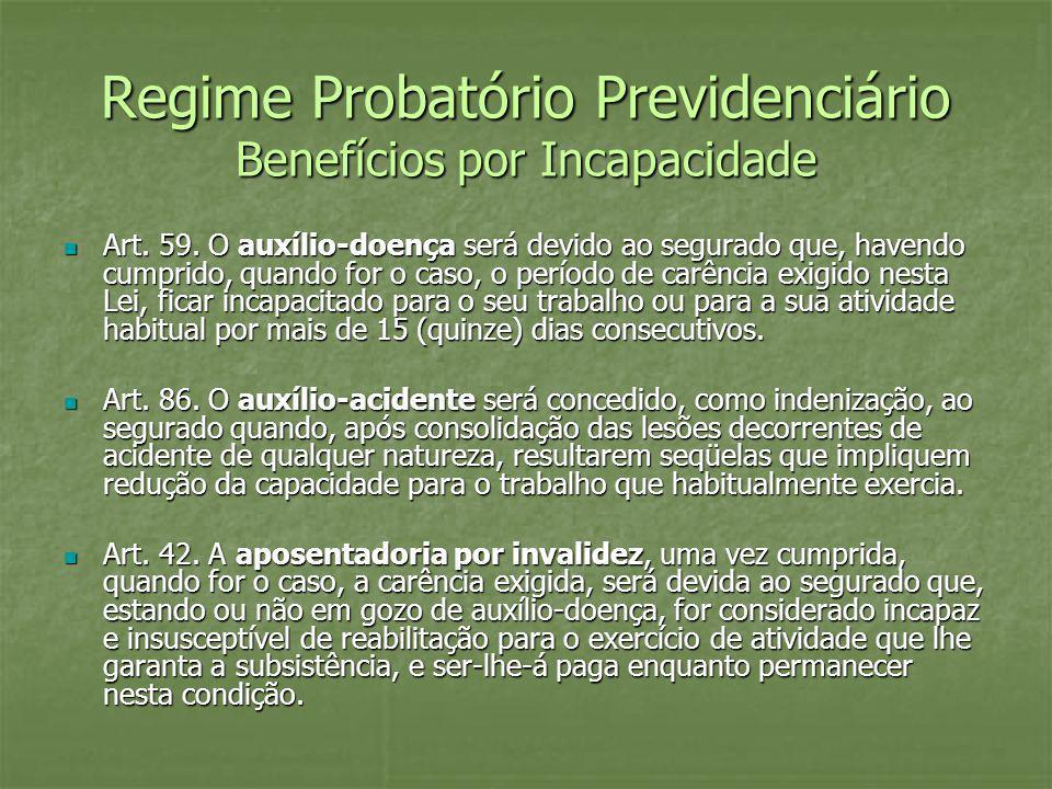 Regime Probatório Previdenciário Benefícios por Incapacidade Art. 59. O auxílio-doença será devido ao segurado que, havendo cumprido, quando for o cas