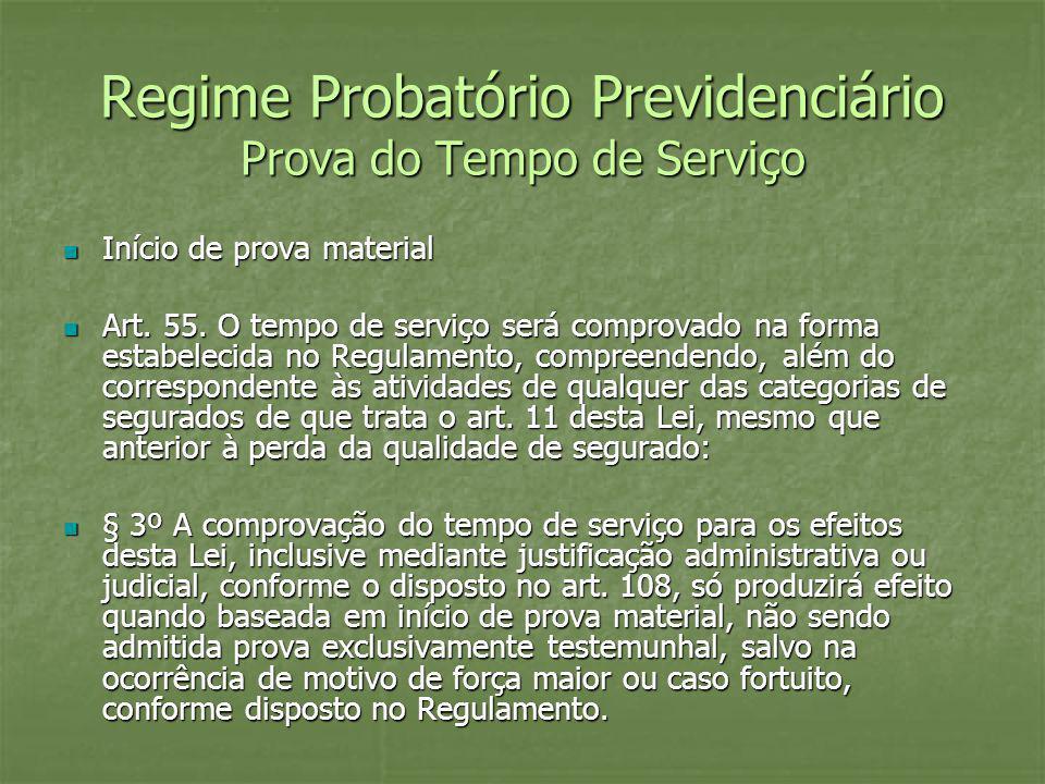 Regime Probatório Previdenciário Prova do Tempo de Serviço Início de prova material Início de prova material Art. 55. O tempo de serviço será comprova