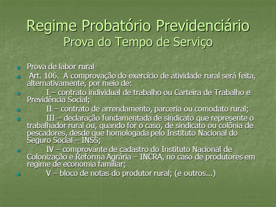 Regime Probatório Previdenciário Prova do Tempo de Serviço Prova de labor rural Prova de labor rural Art. 106. A comprovação do exercício de atividade