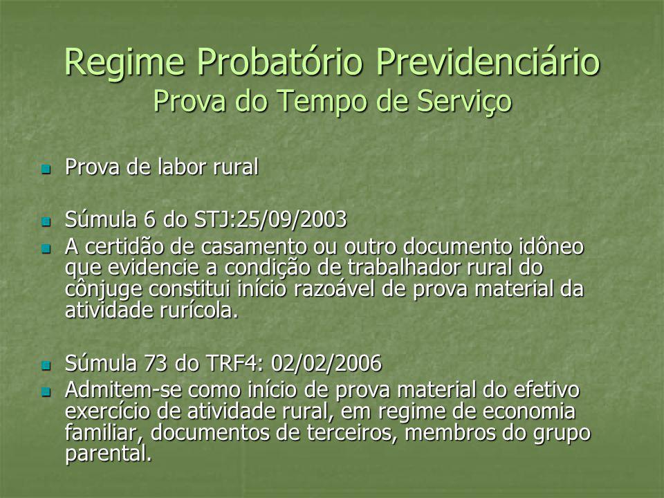 Regime Probatório Previdenciário Prova do Tempo de Serviço Prova de labor rural Prova de labor rural Súmula 6 do STJ:25/09/2003 Súmula 6 do STJ:25/09/