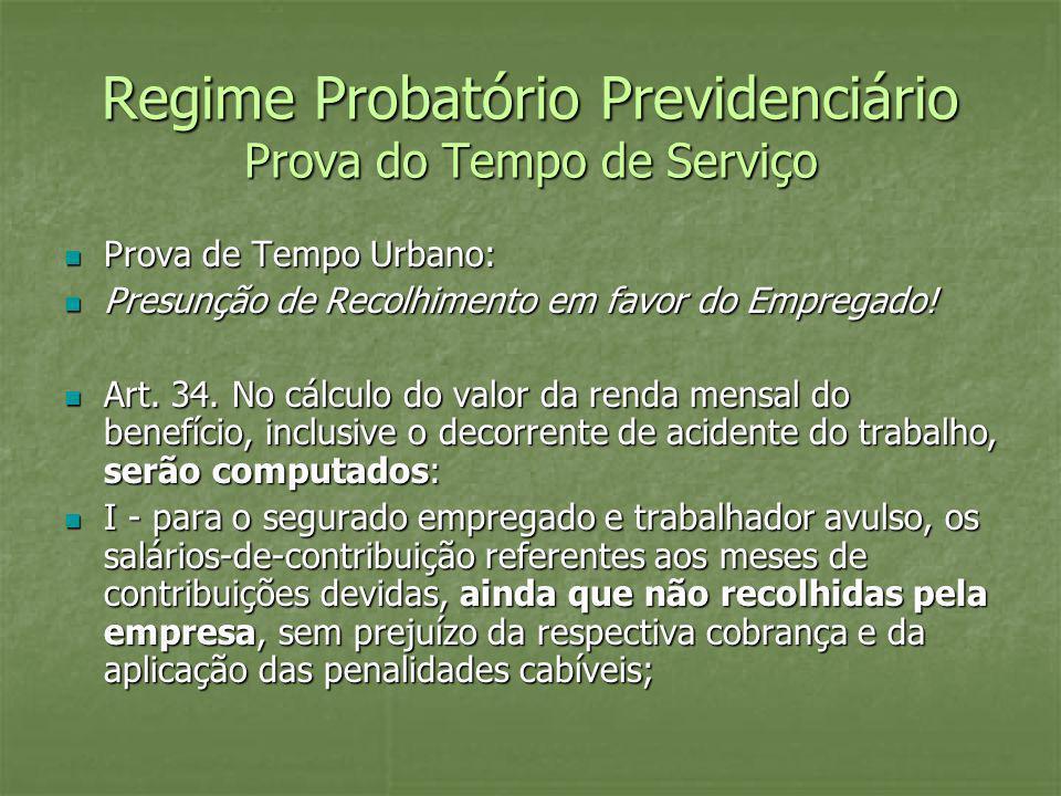 Regime Probatório Previdenciário Prova do Tempo de Serviço Prova de Tempo Urbano: Prova de Tempo Urbano: Presunção de Recolhimento em favor do Emprega