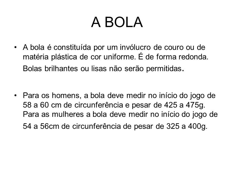 A BOLA A bola é constituída por um invólucro de couro ou de matéria plástica de cor uniforme. É de forma redonda. Bolas brilhantes ou lisas não serão