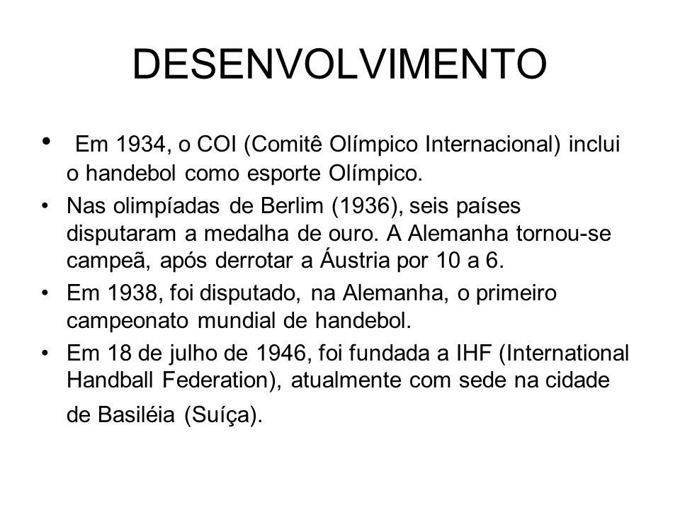 DESENVOLVIMENTO Em 1934, o COI (Comitê Olímpico Internacional) inclui o handebol como esporte Olímpico. Nas olimpíadas de Berlim (1936), seis países d