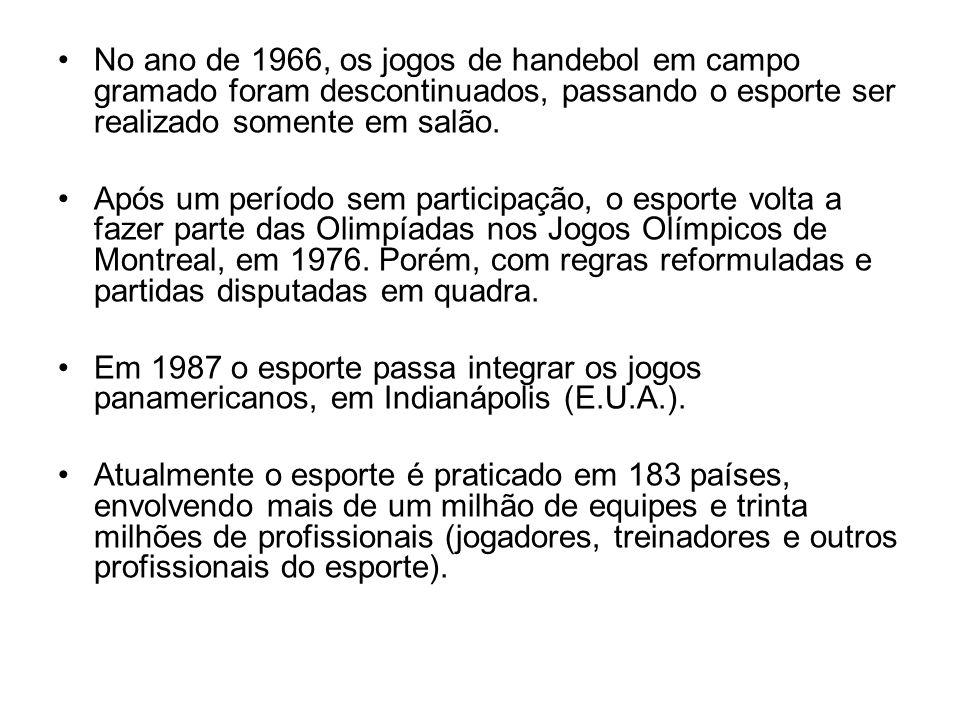 No ano de 1966, os jogos de handebol em campo gramado foram descontinuados, passando o esporte ser realizado somente em salão. Após um período sem par