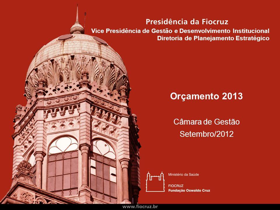 Orçamento 2013 Câmara de Gestão Setembro/2012 Vice Presidência de Gestão e Desenvolvimento Institucional Diretoria de Planejamento Estratégico