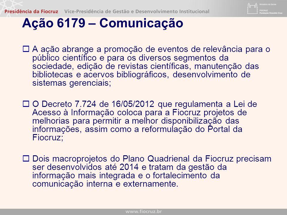 Ação 6179 – Comunicação A ação abrange a promoção de eventos de relevância para o público científico e para os diversos segmentos da sociedade, edição