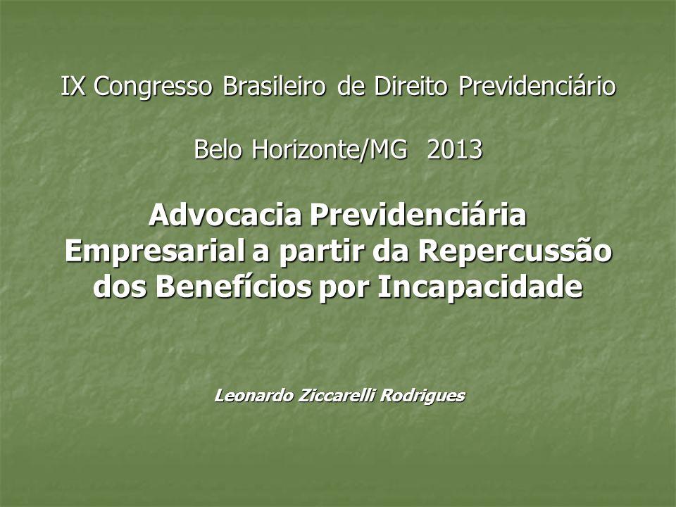 IX Congresso Brasileiro de Direito Previdenciário Belo Horizonte/MG 2013 Advocacia Previdenciária Empresarial a partir da Repercussão dos Benefícios p