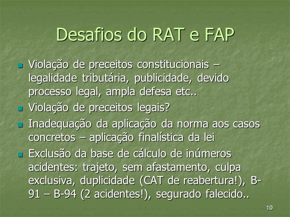 Desafios do RAT e FAP Violação de preceitos constitucionais – legalidade tributária, publicidade, devido processo legal, ampla defesa etc.. Violação d