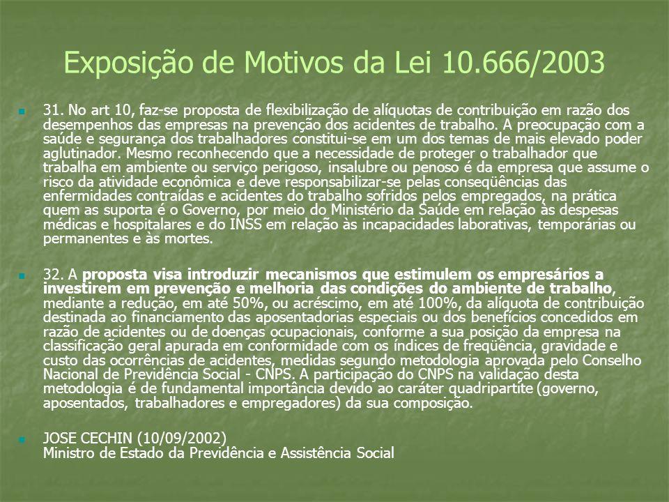 Exposição de Motivos da Lei 10.666/2003 31. No art 10, faz-se proposta de flexibilização de alíquotas de contribuição em razão dos desempenhos das emp