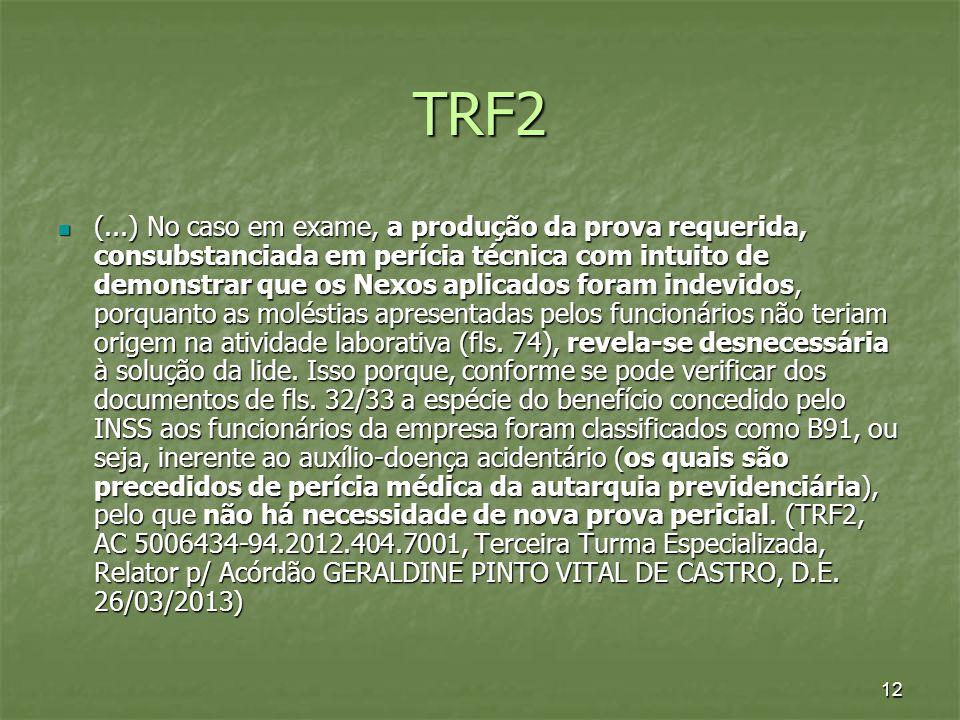 12 TRF2 (...) No caso em exame, a produção da prova requerida, consubstanciada em perícia técnica com intuito de demonstrar que os Nexos aplicados for