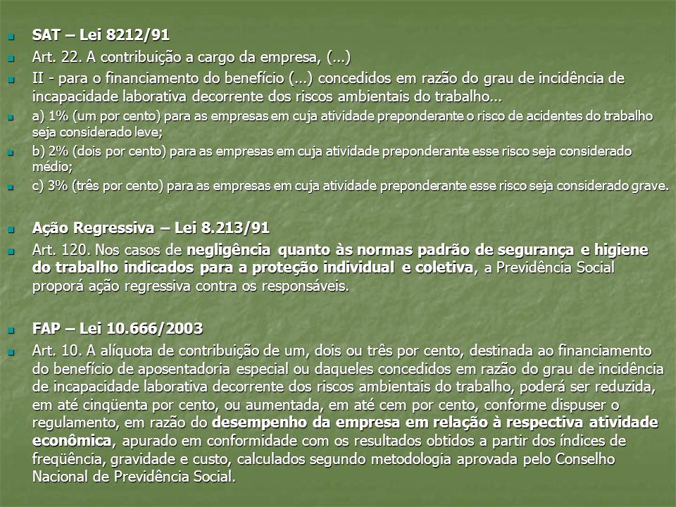 SAT – Lei 8212/91 SAT – Lei 8212/91 Art. 22. A contribuição a cargo da empresa, (...) Art. 22. A contribuição a cargo da empresa, (...) II - para o fi