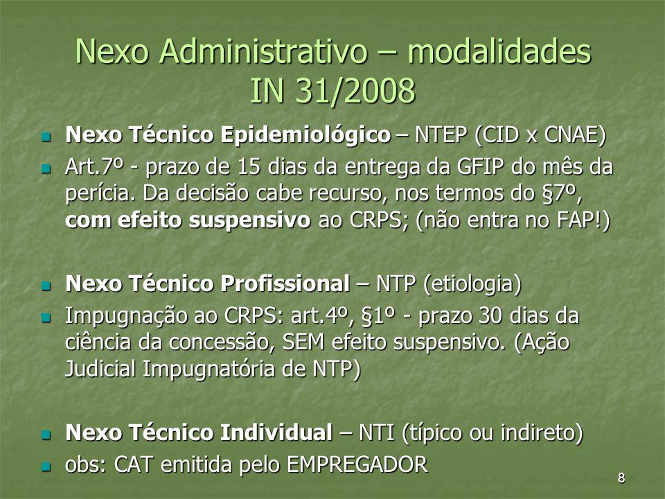Nexo Administrativo – modalidades IN 31/2008 Nexo Técnico Epidemiológico – NTEP (CID x CNAE) Nexo Técnico Epidemiológico – NTEP (CID x CNAE) Art.7º -