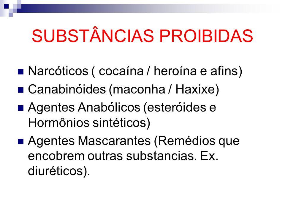 SUBSTÂNCIAS PROIBIDAS Narcóticos ( cocaína / heroína e afins) Canabinóides (maconha / Haxixe) Agentes Anabólicos (esteróides e Hormônios sintéticos) A