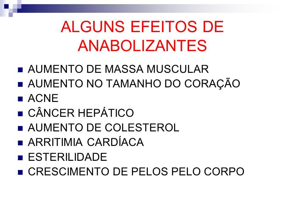 ALGUNS EFEITOS DE ANABOLIZANTES AUMENTO DE MASSA MUSCULAR AUMENTO NO TAMANHO DO CORAÇÃO ACNE CÂNCER HEPÁTICO AUMENTO DE COLESTEROL ARRITIMIA CARDÍACA
