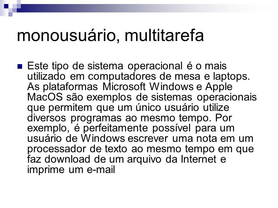 monousuário, multitarefa Este tipo de sistema operacional é o mais utilizado em computadores de mesa e laptops. As plataformas Microsoft Windows e App