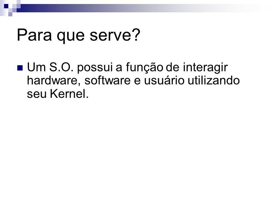 Para que serve? Um S.O. possui a função de interagir hardware, software e usuário utilizando seu Kernel.