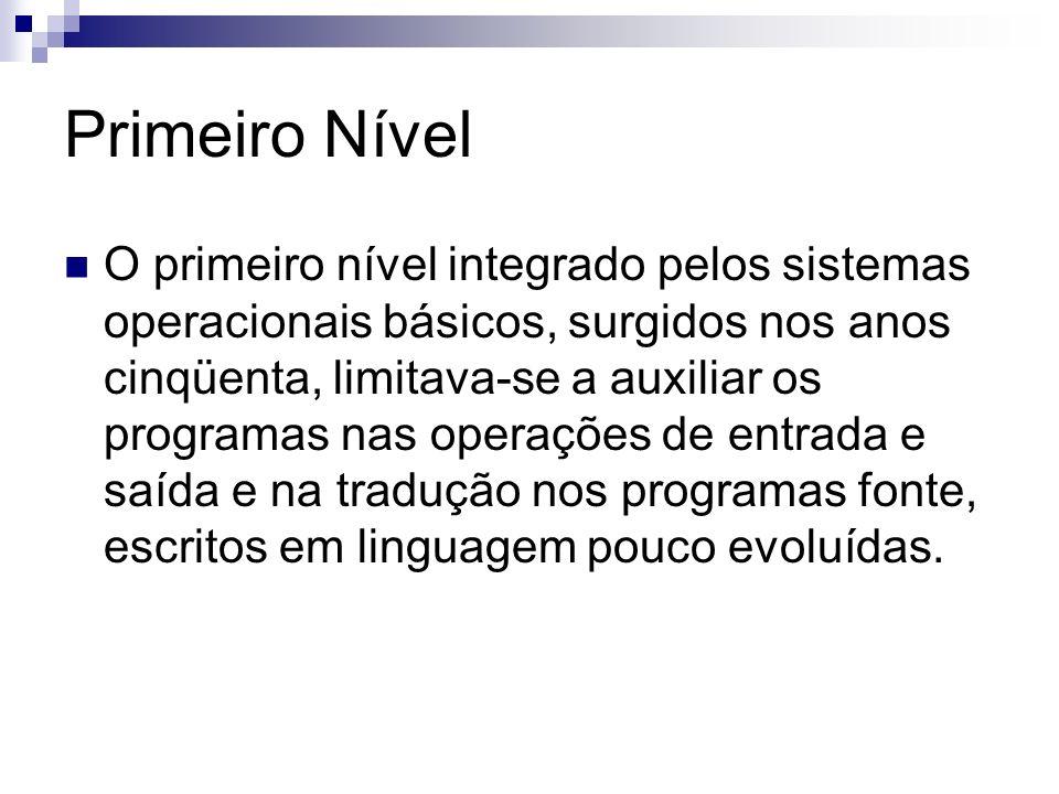 Primeiro Nível O primeiro nível integrado pelos sistemas operacionais básicos, surgidos nos anos cinqüenta, limitava-se a auxiliar os programas nas op