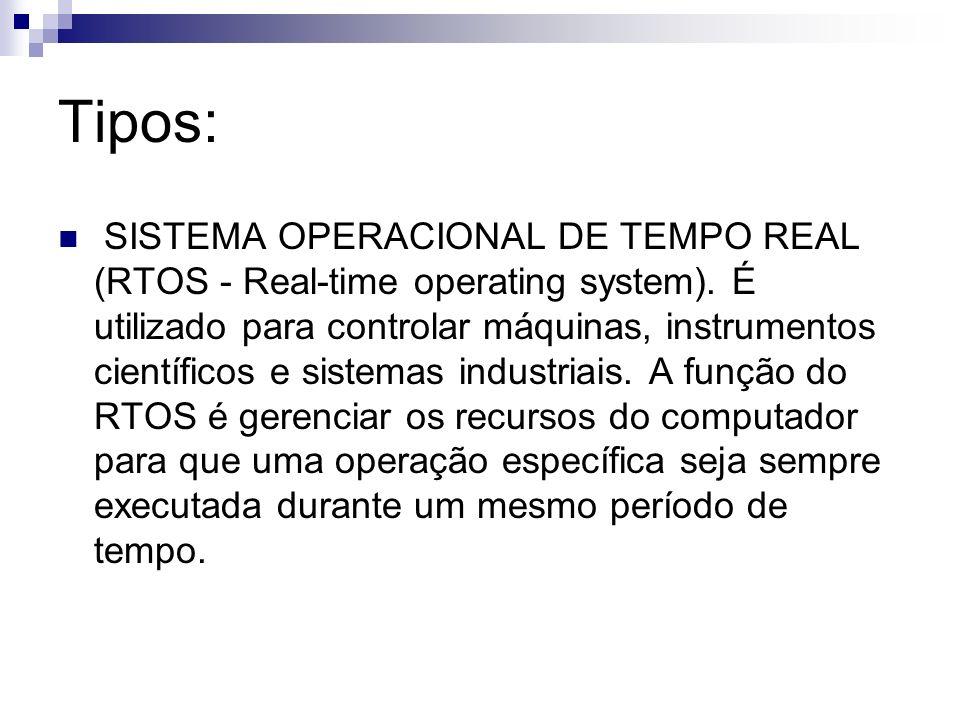 Tipos: SISTEMA OPERACIONAL DE TEMPO REAL (RTOS - Real-time operating system). É utilizado para controlar máquinas, instrumentos científicos e sistemas
