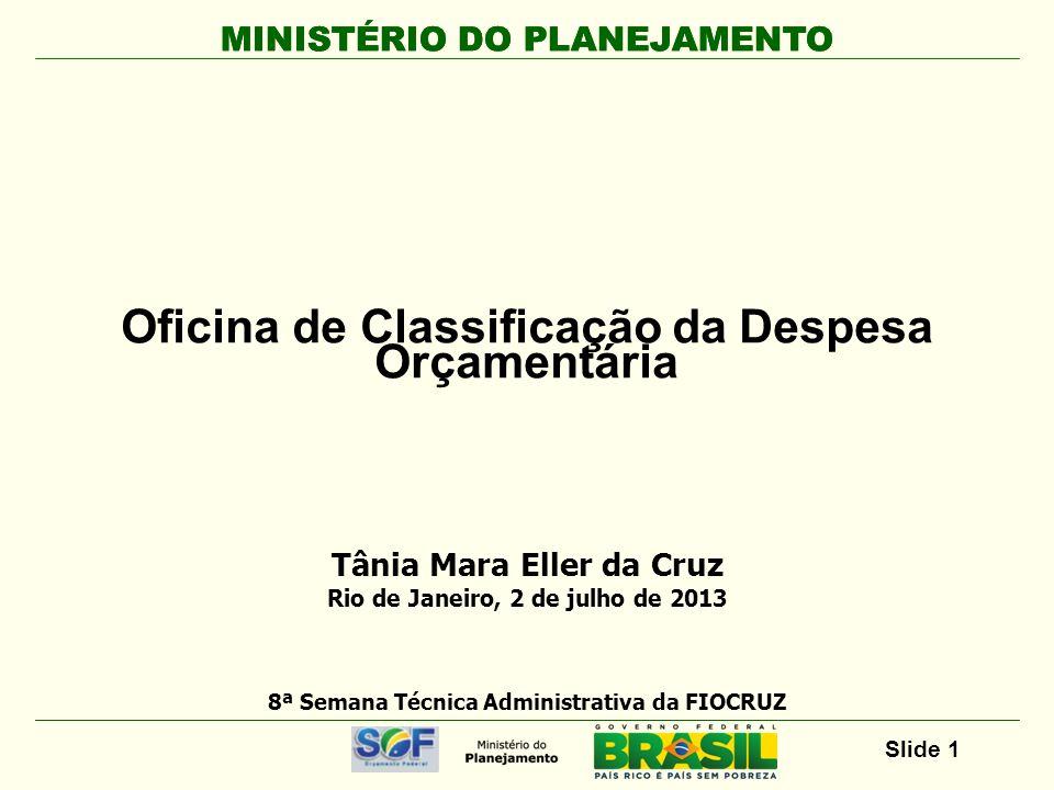 MINISTÉRIO DO PLANEJAMENTO Slide 2 Oficina Classificação da Despesa Orçamentária Duração: 8 horas Conteúdo 1.