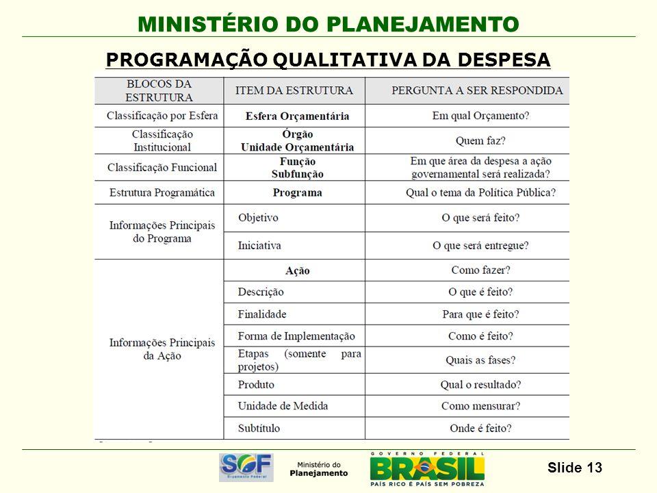 MINISTÉRIO DO PLANEJAMENTO Slide 13 PROGRAMAÇÃO QUALITATIVA DA DESPESA