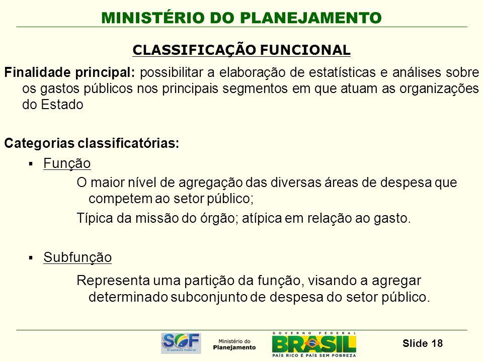 MINISTÉRIO DO PLANEJAMENTO Slide 18 Finalidade principal: possibilitar a elaboração de estatísticas e análises sobre os gastos públicos nos principais