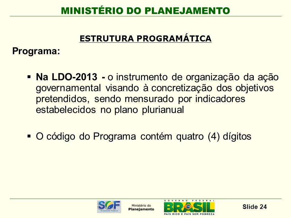 MINISTÉRIO DO PLANEJAMENTO Slide 24 Programa: Na LDO-2013 - o instrumento de organização da ação governamental visando à concretização dos objetivos p