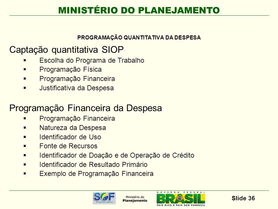 MINISTÉRIO DO PLANEJAMENTO Slide 37 CAPTAÇÃO DA PROGRAMAÇÃO QUANTITATIVA