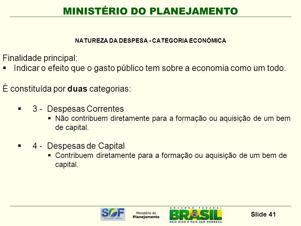 MINISTÉRIO DO PLANEJAMENTO Slide 41 Finalidade principal: Indicar o efeito que o gasto público tem sobre a economia como um todo. É constituída por du
