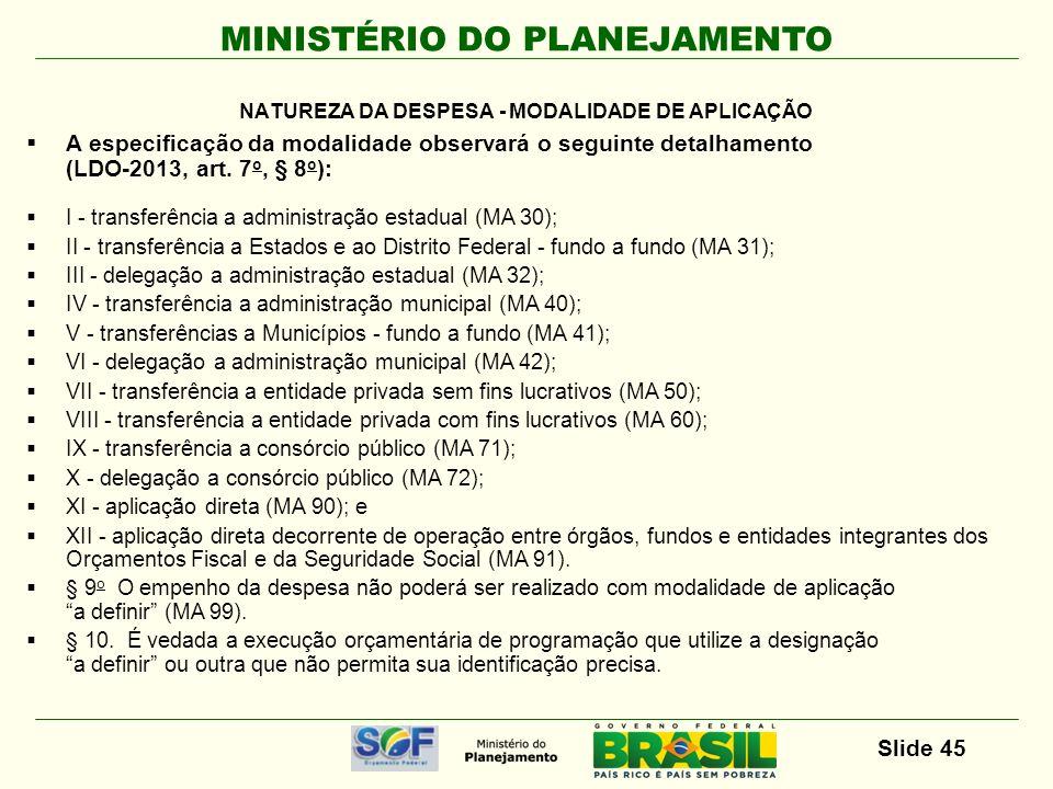 MINISTÉRIO DO PLANEJAMENTO Slide 45 A especificação da modalidade observará o seguinte detalhamento (LDO-2013, art. 7 o, § 8 o ): I - transferência a