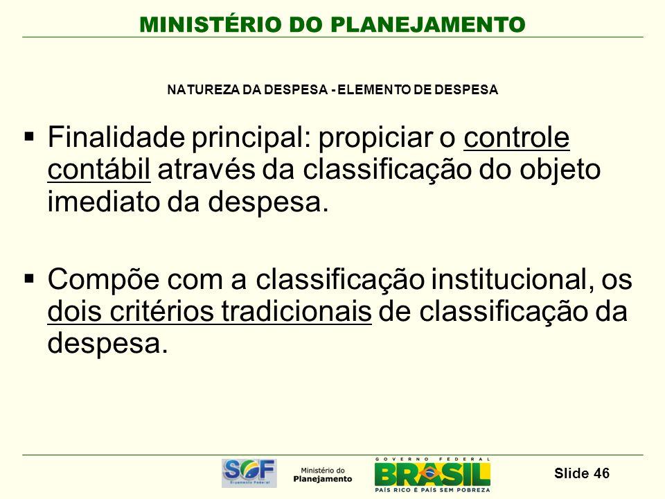 MINISTÉRIO DO PLANEJAMENTO Slide 46 Finalidade principal: propiciar o controle contábil através da classificação do objeto imediato da despesa. Compõe