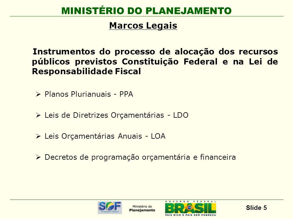MINISTÉRIO DO PLANEJAMENTO Slide 5 Marcos Legais Instrumentos do processo de alocação dos recursos públicos previstos Constituição Federal e na Lei de