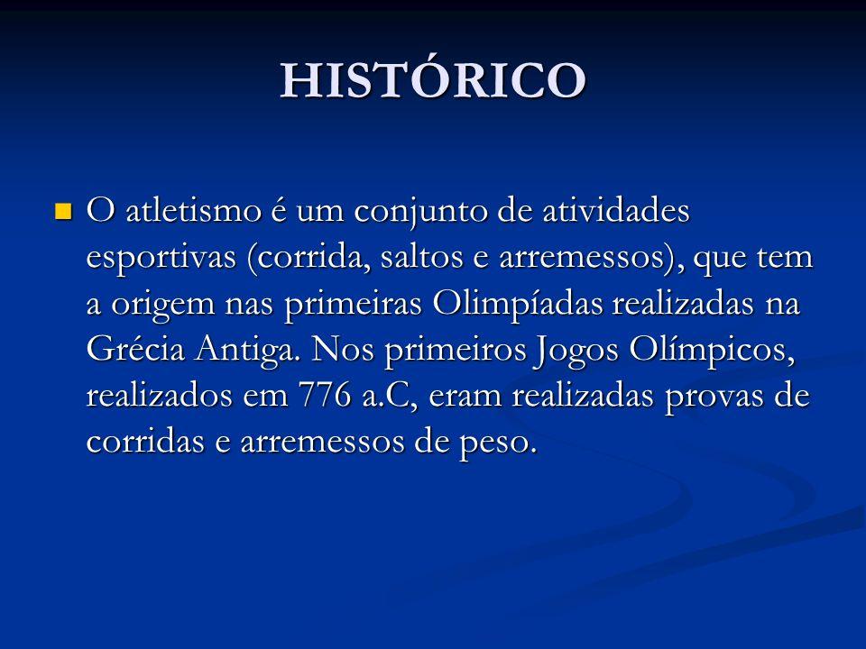 HISTÓRICO O atletismo é um conjunto de atividades esportivas (corrida, saltos e arremessos), que tem a origem nas primeiras Olimpíadas realizadas na G