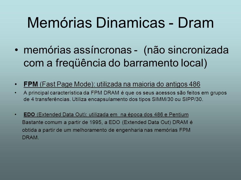 Memórias Dinamicas - Dram memórias assíncronas - (não sincronizada com a freqüência do barramento local) FPM (Fast Page Mode): utilizada na maioria do